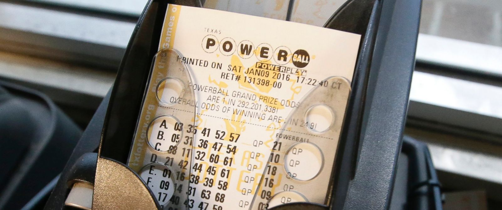 PHOTO: A Powerball lottery ticket is printed in Dallas, Jan. 9, 2016.