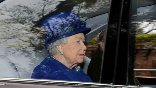 PHOTO: Britain's Queen Elizabeth II in a car with Prince Philip, arrives to attend the morning church service at St Mary Magdalene Church in Sandringham, England, Sunday Jan. 8, 2017.