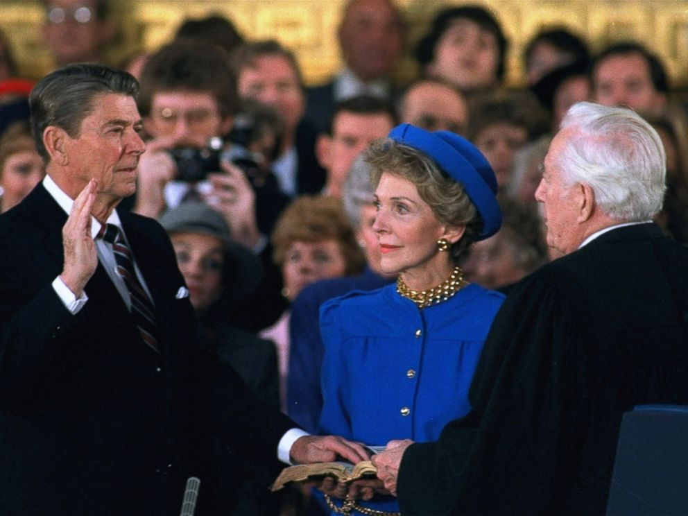 PHOTO: First Lady Nancy Reagan watches as President Ronald Reagan is sworn in during ceremonies in the Rotunda beneath the Capitol Dome in Washington, Jan. 21, 1985.