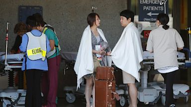 PHOTO: Passengers from Asiana Flight 214 are treated at San Francisco General Hospital after the plane crashed at San Francisco International Airport in San Francisco, Saturday, July 6, 2013.