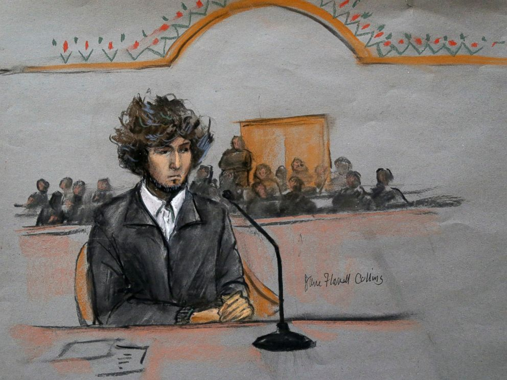 PHOTO: In this courtroom sketch, Boston Marathon bombing suspect Dzhokhar Tsarnaev is seen sitting in federal court in Boston, Dec. 18, 2014.