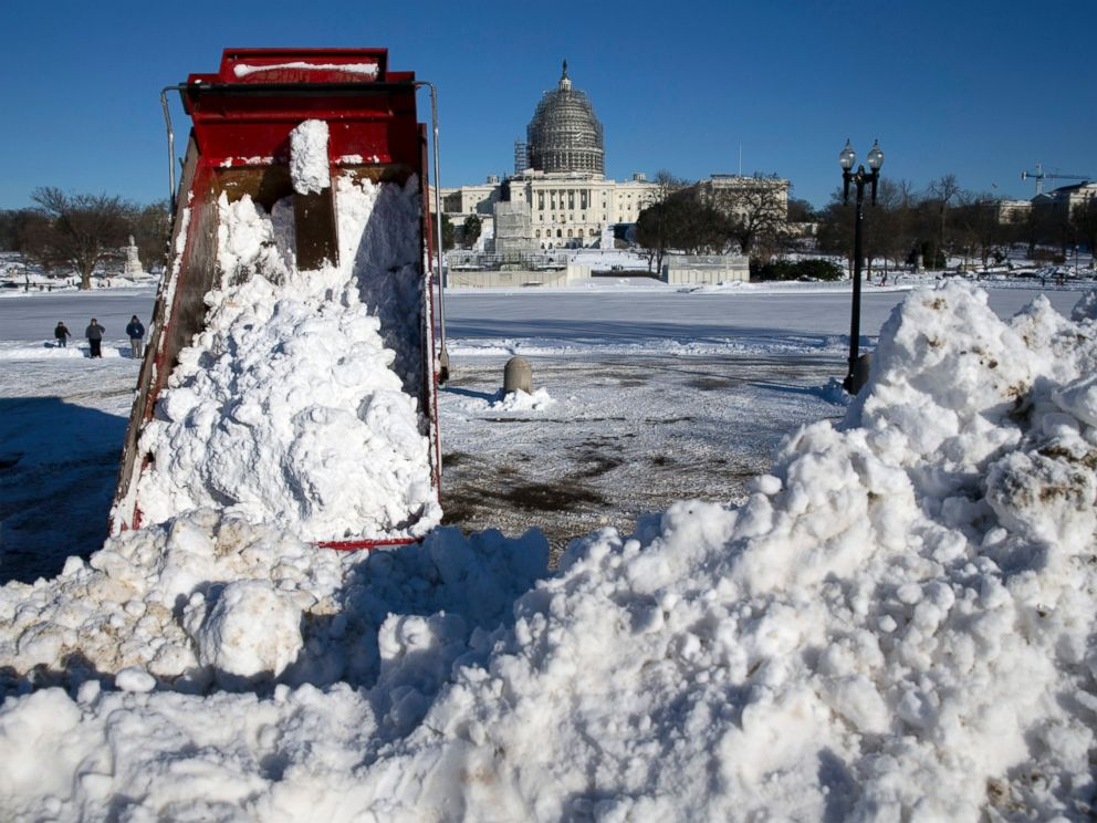 PHOTO:A dump truck empties a load of snow in front of the U.S. Capitol Building in Washington, Jan. 24, 2016.