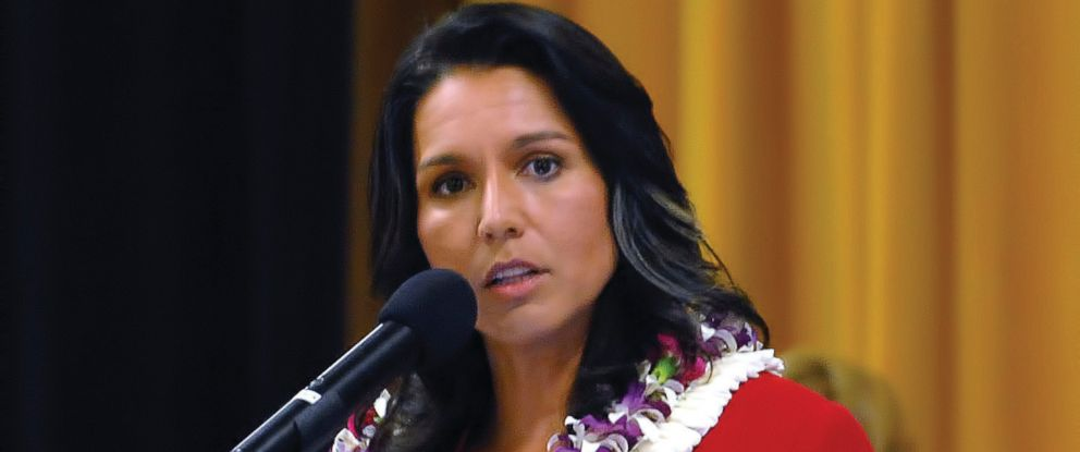 U.S. Rep. Tulsi Gabbard, D-Hawaii, speaks at the Kona Town Hall Meeting on April 11, 2017. Gabbard, who served with the Army in Iraq in 2006, was elected to the House in 2012.