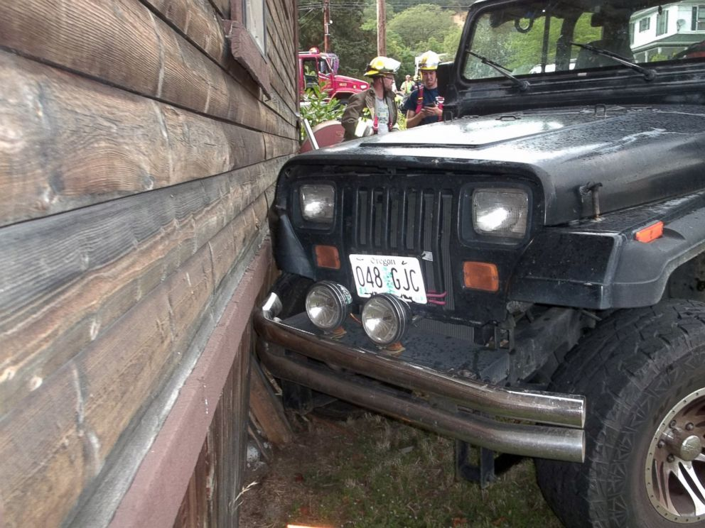 PHOTO: Authorities say a toddler crashed this Jeep into a home in Myrtle Creek, Ore. after knocking the vehicle out of gear, July 24, 2014. The photo was provided by the Myrtle Creek Police Department.
