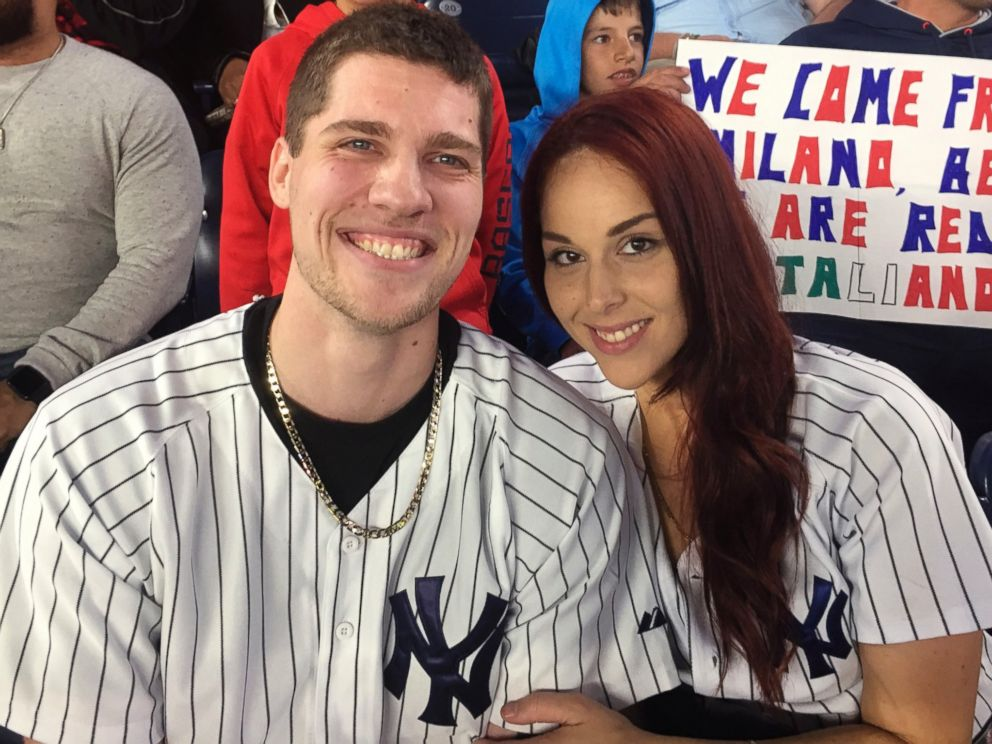 PHOTO: Andrew Fox, left, and Heather Terwilliger sit in the stands at Yankee Stadium, on Sept. 27, 2016, in New York City.