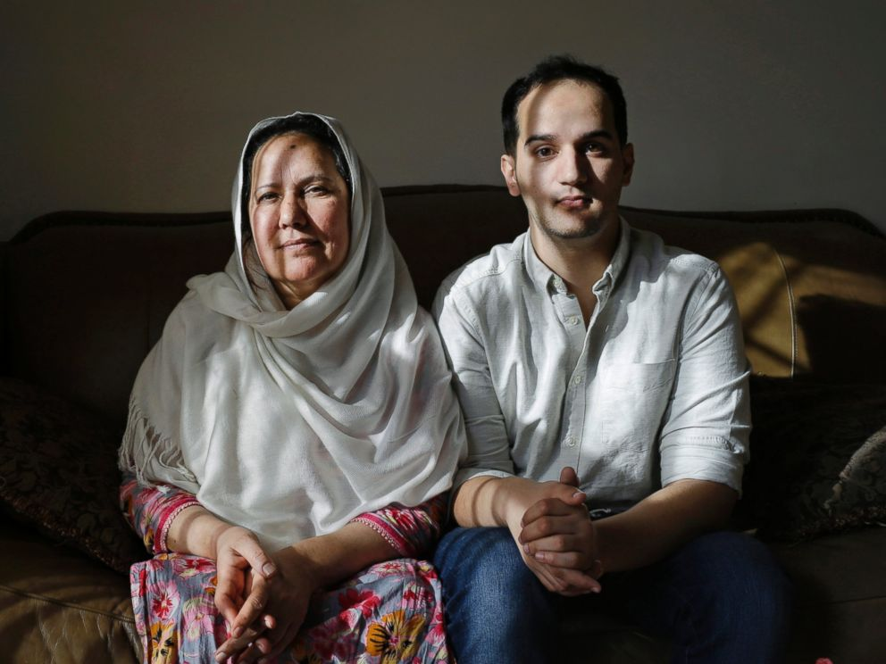 PHOTO:In this Dec. 10, 2014 file photo, Shamim Syed, left, mother of Adnan Syed and her son Yusef pose for a photograph in her home in Baltimore.