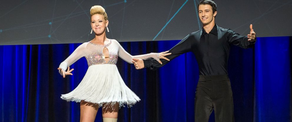 PHOTO: Adrianne Haslet-Davis, left, performs on stage with dancer Christian Lightner at the 2014 TED Conference, March 19, 2014, in Vancouver.