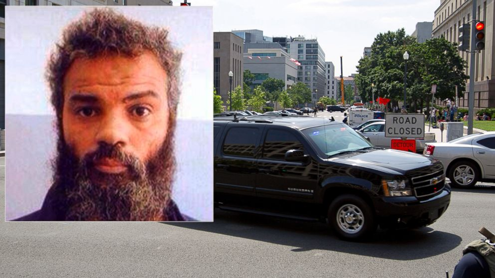 PHOTO: The motorcade transporting the Libyan militant Ahmed Abu Khattala, charged in the deadly Benghazi attack at the U.S. embassy in Lybia, leaves the federal U.S. District Court in Washington, June 28, 2014.