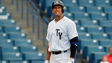PHOTO: Alex Rodriguez walks back to the bench after striking out in the seventh inning with the Yankees as they play the Dunedin Blue Jays at George M. Steinbrenner Field in Tampa, July 9, 2013.