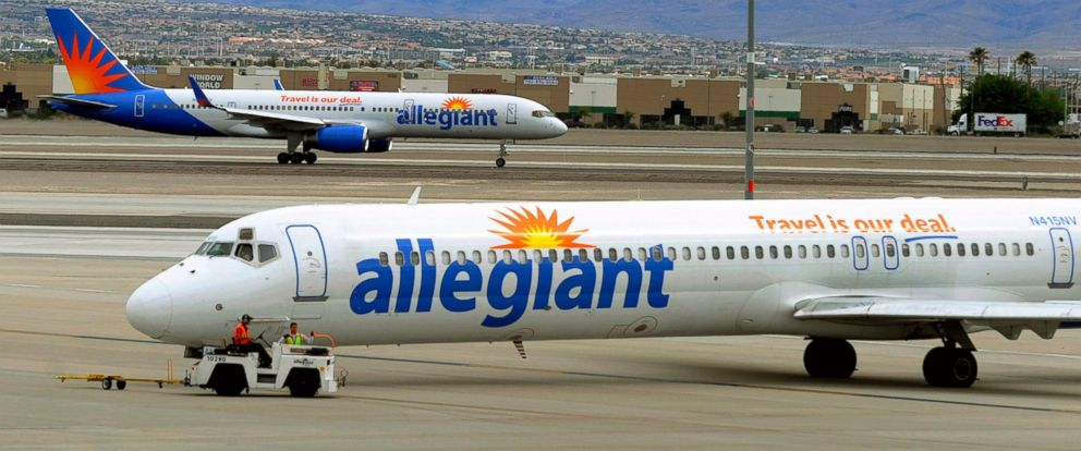 PHOTO: Two Allegiant Air jets taxi at McCarran International Airport in Las Vegas, May 9, 2013.