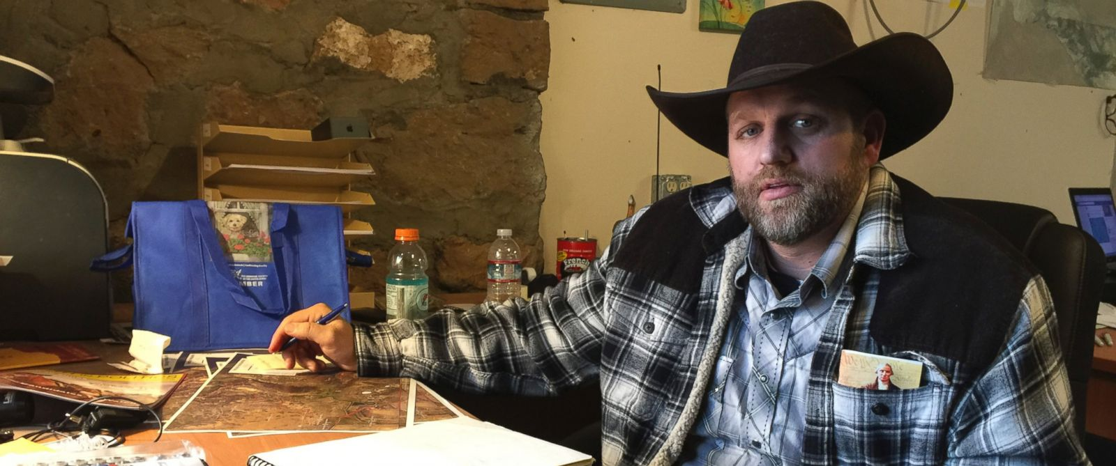 PHOTO: Ammon Bundy sits at a desk hes using at the Malheur National Wildlife Refuge in Oregon, Jan. 22, 2016. Bundy is the leader of an armed group occupying a national wildlife refuge to protest federal land policies.