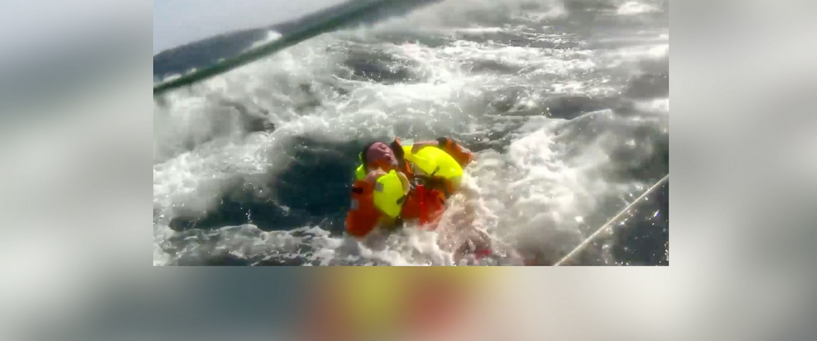 PHOTO: Andrew Taylor, 46, left, from London is shown prior to his rescue after falling overboard from the 70-foot yacht, the Derry-Londonderry-Doire, during the Clipper Round the World Yacht Race, Monday, March 31, 2014.
