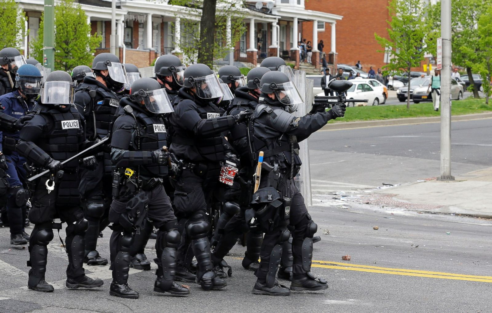 Baltimore police officers in riot gear push protestors back along - Baltimore Police Officers In Riot Gear Push Protestors Back Along 30