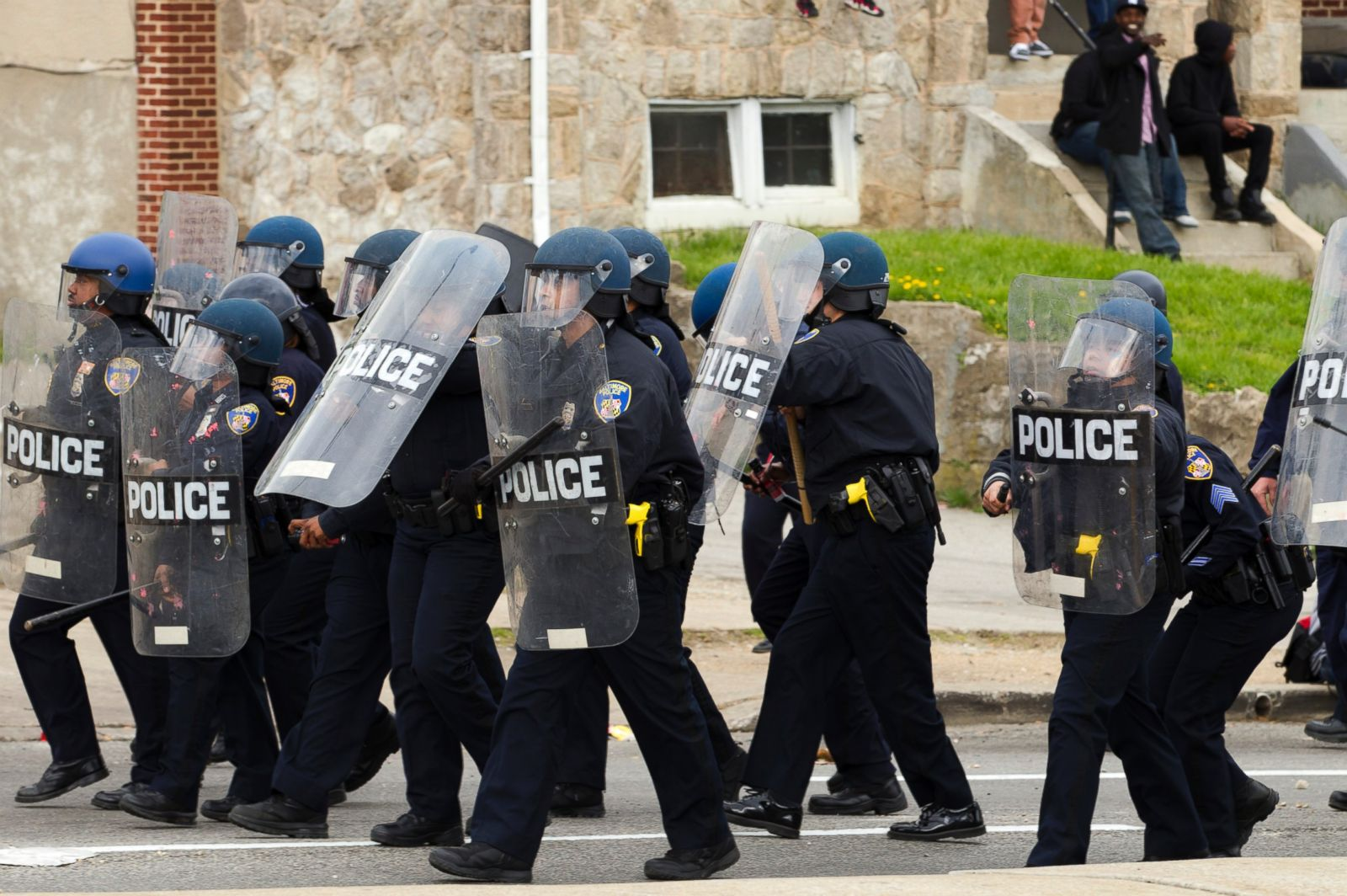 Baltimore police officers in riot gear push protestors back along - Baltimore Police Officers In Riot Gear Push Protestors Back Along 51