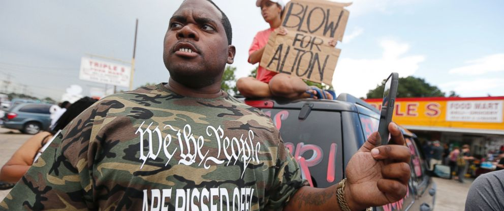 PHOTO: Charley Roggerson films a rally with his cellphone in Baton Rouge, Louisiana, July 6, 2016, after Alton Sterling was shot and killed.