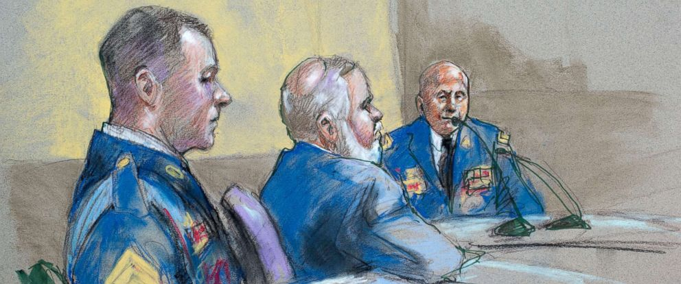 PHOTO: Army Sgt. Bowe Bergdahl, left, and defense lead counsel Eugene Fidell, center, look on as Maj. Gen. Kenneth Dahl is questioned during a preliminary hearing to determine if Sgt. Bergdahl will be court-martialed, Sept. 18, 2015, at Fort Sam Houston