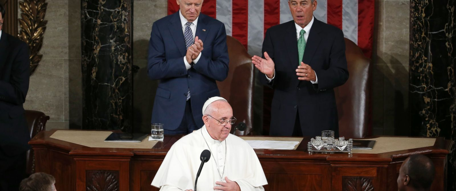 PHOTO: Vice President Joe Biden and House Speaker John Boehner of Ohio applaud Pope Francis after his address before a joint meeting of Congress on Capitol Hill in Washington, Sept. 24, 2015, making history as the first pontiff to do so.