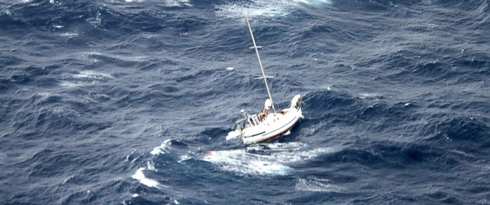 PHOTO: The 42-foot sailboat Walkabout caught in Hurricane Julio, about 400 miles northeast of Oahu, Hawaii, Aug. 10, 2014.