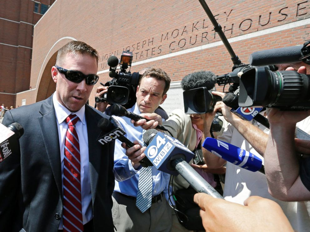 PHOTO: MBTA Transit Police officer Richard Donohue talks with reporters as he leaves the Moakley Federal Courthouse following Tsarnaevs formal sentencing in Boston, June 24, 2015.