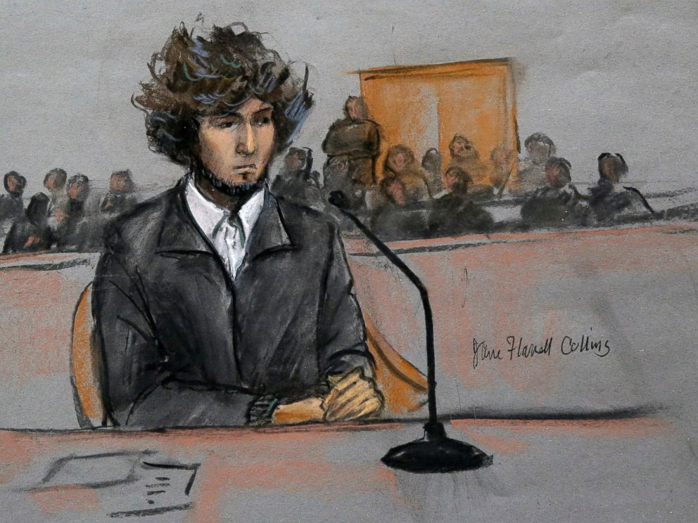PHOTO: In this courtroom sketch, Boston Marathon bombing suspect Dzhokhar Tsarnaev is depicted sitting in federal court in Boston on Dec. 18, 2014.