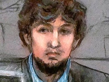 PHOTO: In this courtroom sketch, Dzhokhar Tsarnaev, right, and defense attorney Judy Clarke are depicted watching evidence displayed on a monitor during his federal death penalty trial, March 9, 2015, in Boston.