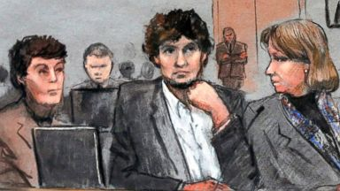 PHOTO: In this courtroom sketch, Dzhokhar Tsarnaev, center, is depicted between defense attorneys Miriam Conrad, left, and Judy Clarke, right, during his federal death penalty trial, March 5, 2015, in Boston.