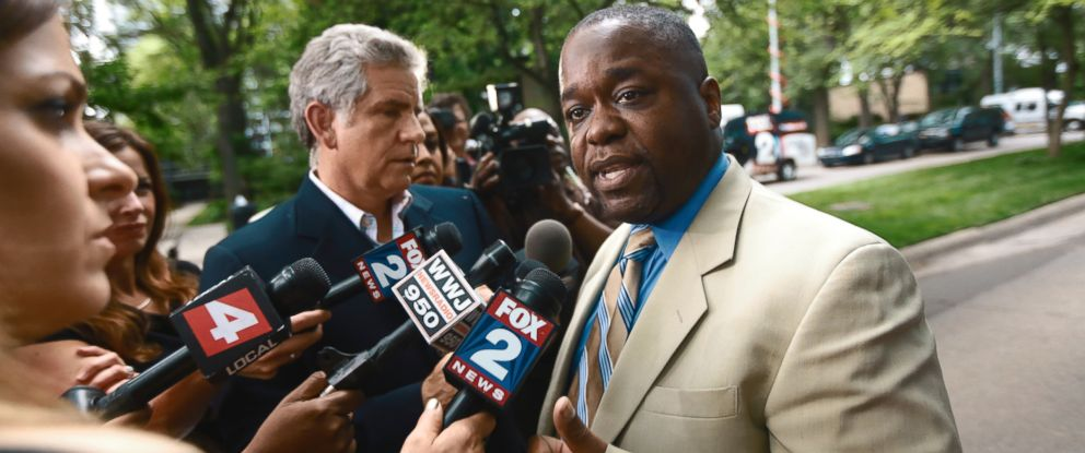 PHOTO: Charles Bothuell IV speaks to the media after finding out that his son Charlie Bothuell V was found alive in the basement of his home in Detroit, June 25, 2014.