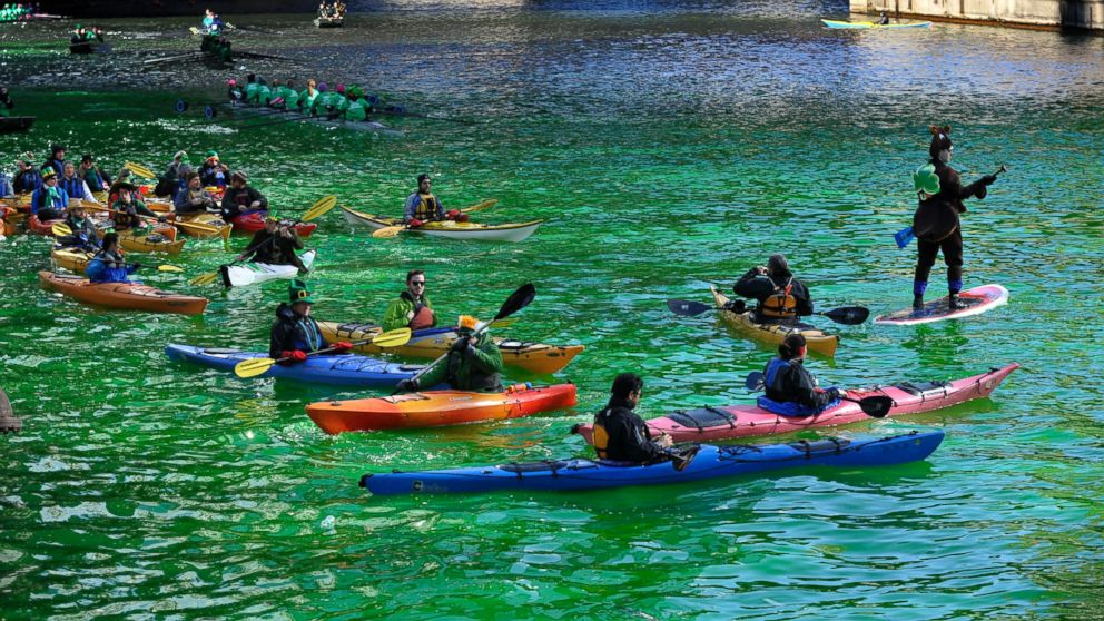 AP chicago river kayakers jt 140315 16x9 992 Instant Index: Chicago Dyes River Green for St. Patricks Day