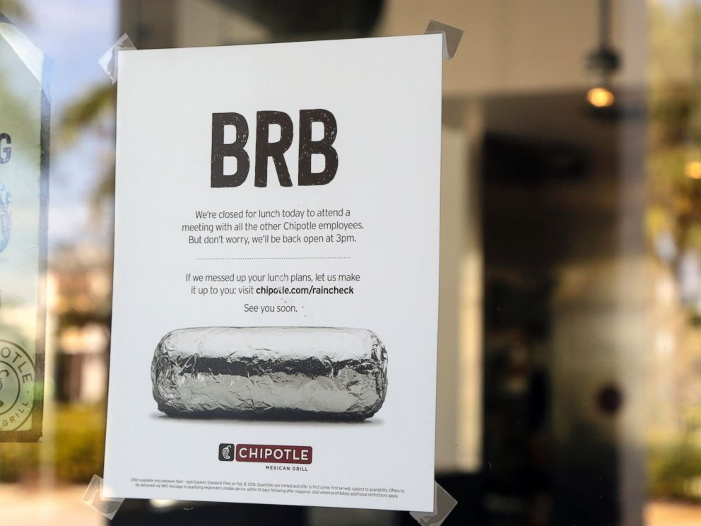 PHOTO: A sign on the door of a Chipotle restaurant indicates the store is closed until 3 p.m., Feb. 8, 2016, in Delray Beach, Fla.