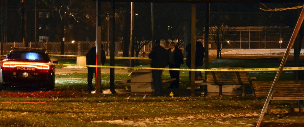 PHOTO: Cleveland police investigate a scene after an officer fired two shots, killing 12-year-old Tamir E. Rice, who police said pulled a gun from his waistband, Nov. 22, 2014.