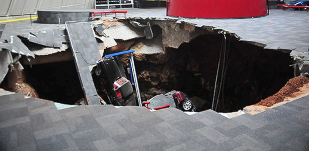 PHOTO: In this image provided by the National Corvette Museum shows several cars that collapsed into a sinkhole, Feb. 12, 2014, in Bowling Green, Ky.