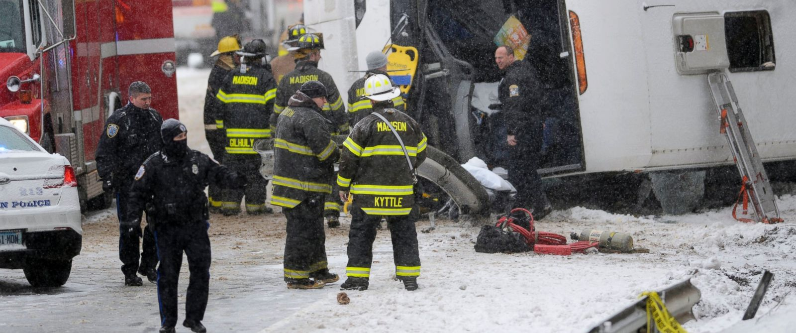 PHOTO: Emergency responders work at the scene of a tour bus rollover on Interstate 95 northbound in the area of exit 61, Feb. 8, 2016, in Madison, Conn.