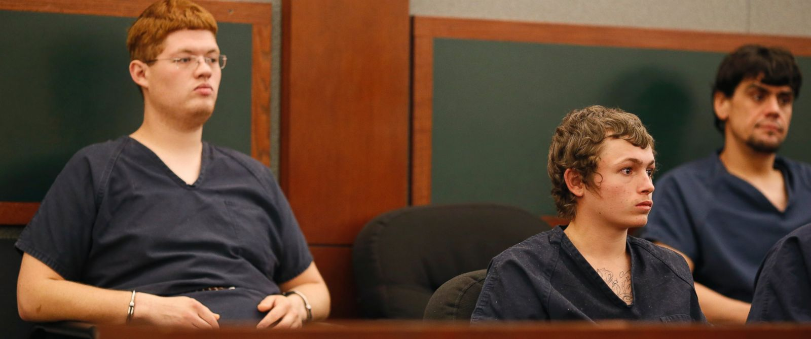 PHOTO: Erich Milton Nowsch Jr., second from right, and Derrick Andrews, left, appear in court, March 31, 2015, in Las Vegas. The two have been charged with the Feb. 12, 2014, fatal shooting of Tammy Meyers, 44, in a Las Vegas neighborhood cul-de-sac.