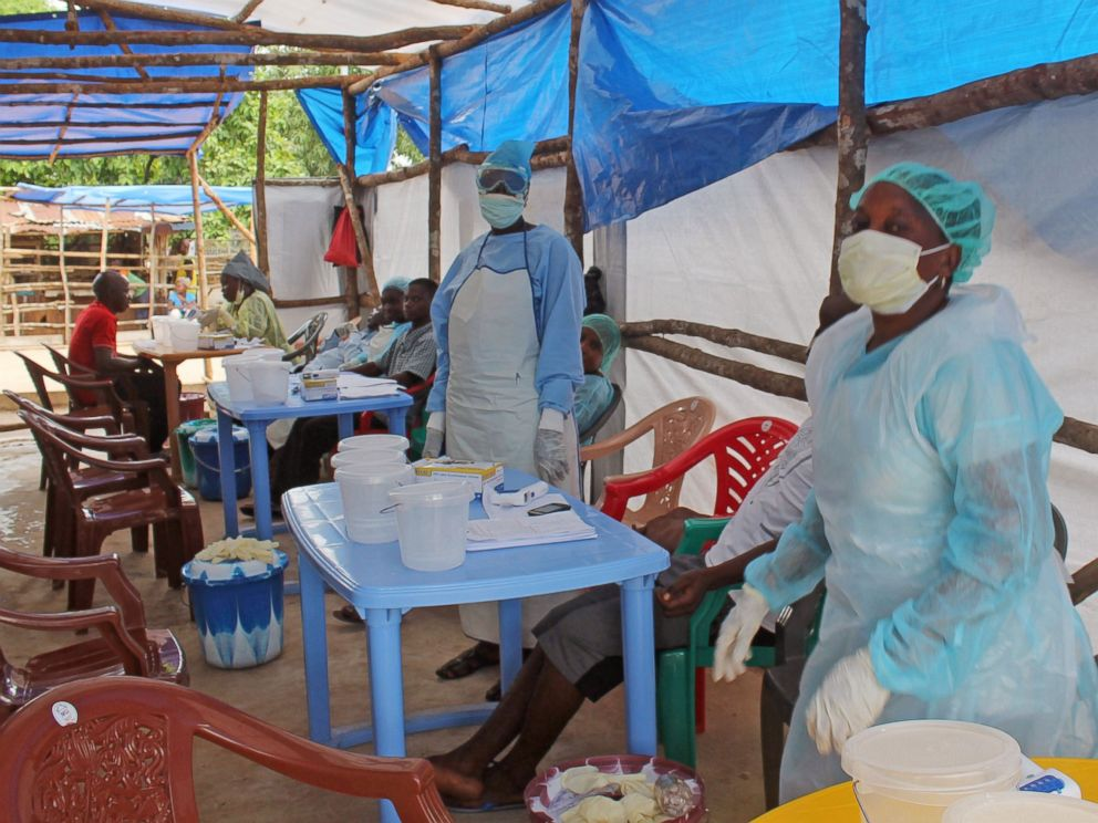 PHOTO: Medical personnel inside a clinic taking care of Ebola patients in Kenema, Sierra Leone, July 27, 2014.