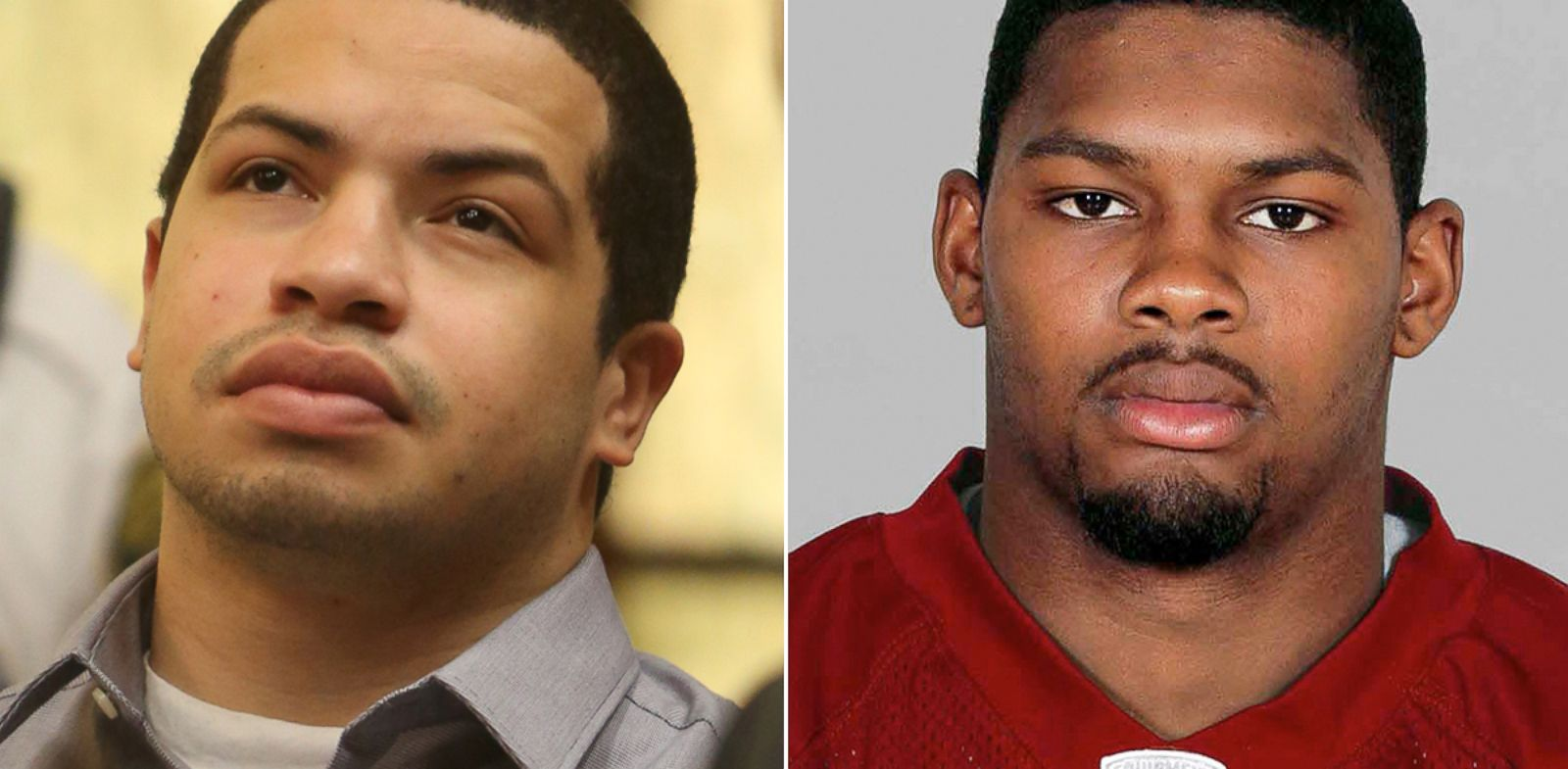 PHOTO: Eric Rivera Jr., left, stands in court, Oct. 15, 2013, in Miami, accused in the 2007 slaying of Washington Redskins star safety Sean Taylor, right.