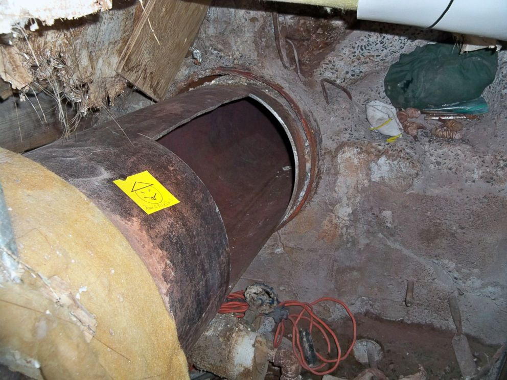 PHOTO: This file photo provided by New York State Governors office shows the area where two convicted murderers used power tools to cut through steel pipes at the Clinton Correctional facility in Dannemora, N.Y.