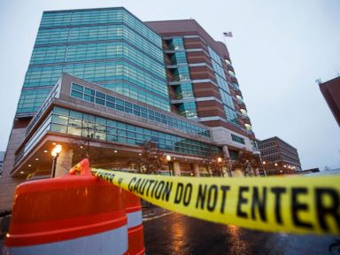 PHOTO: Barricades line the exterior of the Buzz Westfall Justice Center in Clayton, Mo., Nov. 23, 2014.