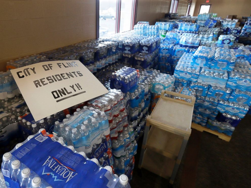 PHOTO: Hundreds of cases of bottled water are stored at Our Lady of Guadalupe Church in Flint, Mich., Feb. 5, 2016.