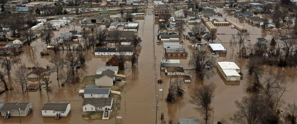 PHOTO: A northern view of 1st Street where homes were flooded, Dec. 29, 2015, in Pacific, Mo. Torrential rains over the past several days pushed already swollen rivers and streams to virtually unheard-of heights in parts of Missouri and Illinois.