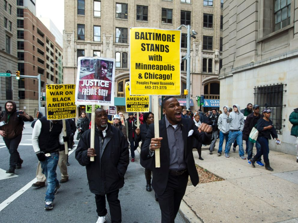 PHOTO: Demonstrators protest outside of the courthouse after a mistrial was declared in the trial of Officer William Porter, one of six Baltimore city police officers charged in connection to the death of Freddie Gray, Dec. 16, 2015, in Baltimore.