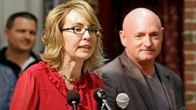 PHOTO: Gabrielle Giffords accompanied by husband Mark Kelly