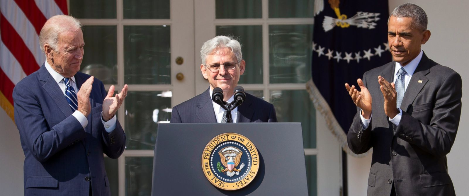 PHOTO: Federal appeals court judge Merrick Garland, receives applauds from President Barack Obama and Vice President Joe Biden as he is introduced as Obamas nominee for the Supreme Court, March 16, 2016.