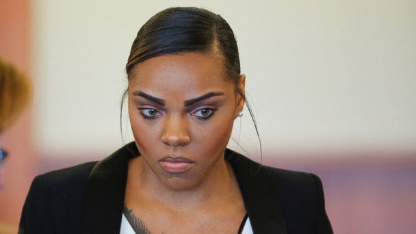 PHOTO: Shayanna Jenkins, fiance of former New England Patriots football player Aaron Hernandez, stands during a pretrial hearing in Fall River, Mass. on Dec. 22, 2014.