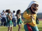 PHOTO: Coachella Valley High Schools mascot, Arab, dances to the band during a pep rally at the school in Thermal, Calif., Nov. 10, 200.