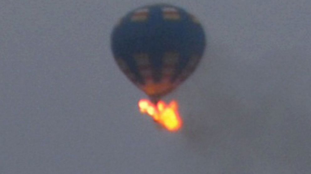 PHOTO: This photo provided by Nancy Johnson shows what authorities say is a hot-air balloon that was believed to have caught fire and crashed in Virginia, Friday, May 9, 2014.