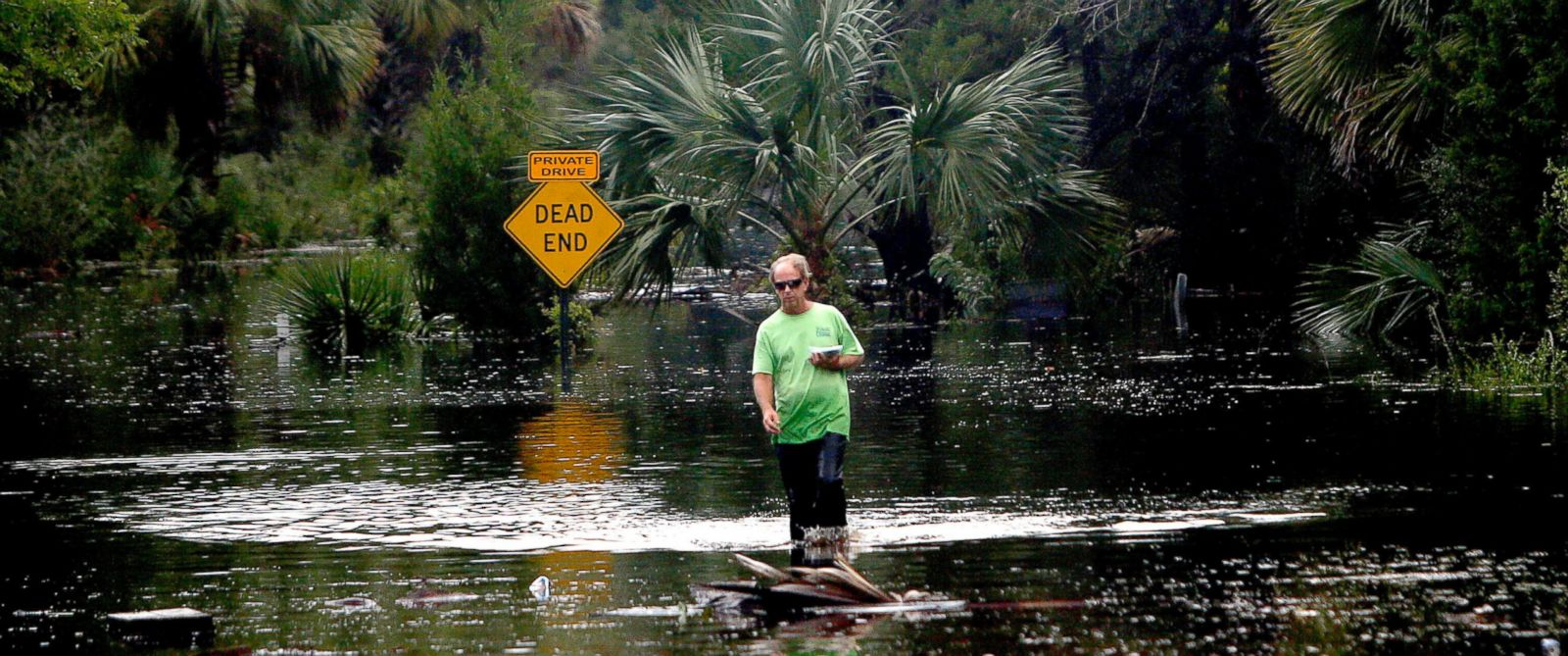 PHOTO: A man walks from his house through Hurricane Hermine floodwaters, Sept. 2, 2016 in Steinhatchee, Florida.