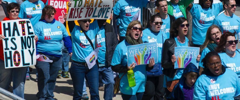 PHOTO: Opponents of Indiana Senate Bill 101, the Religious Freedom Restoration Act, march towards Lucas Oil Stadium in Indianapolis on Saturday, April 4, 2015.