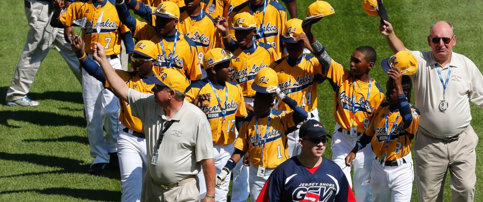 PHOTO: The Jackie Robinson West Little League baseball team from Chicago participates in the opening ceremony of the 2014 Little League World Series tournament in South Williamsport, Pa. on Aug. 14, 2014.