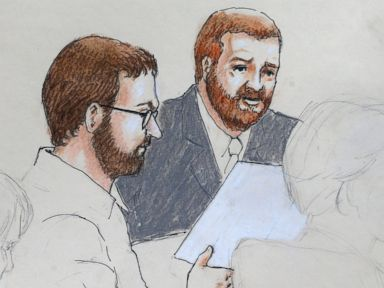 PHOTO: Aurora theater shooting defendant James Holmes, center left, and defense attorney Daniel King sit in court at the Arapahoe County Justice Center on the first day of Holmes trial, in Centennial, Colo.