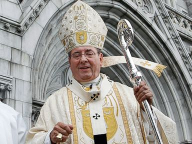 PHOTO: Archbishop John J. Myers stands outside Cathedral Basilica of the Sacred Heart in Newark, NJ